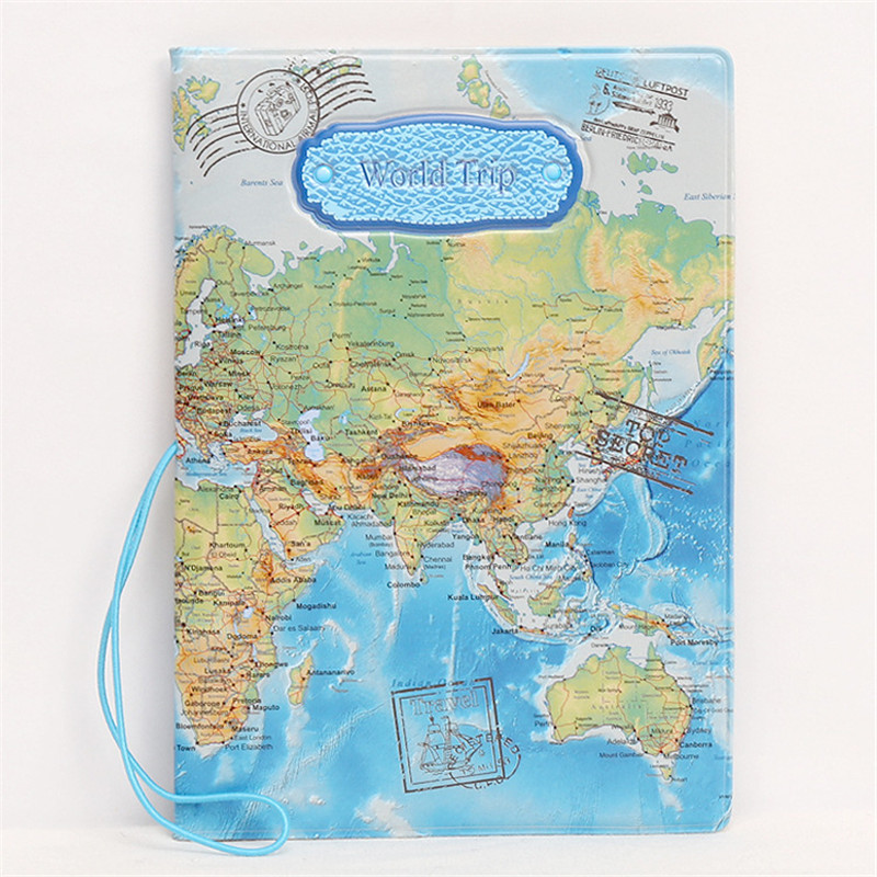 Fashion World Map Pattern Travel Passport Cover ID Credit Card Bag 3D Embossed Design Card Holder PVC Passport Holder Bag