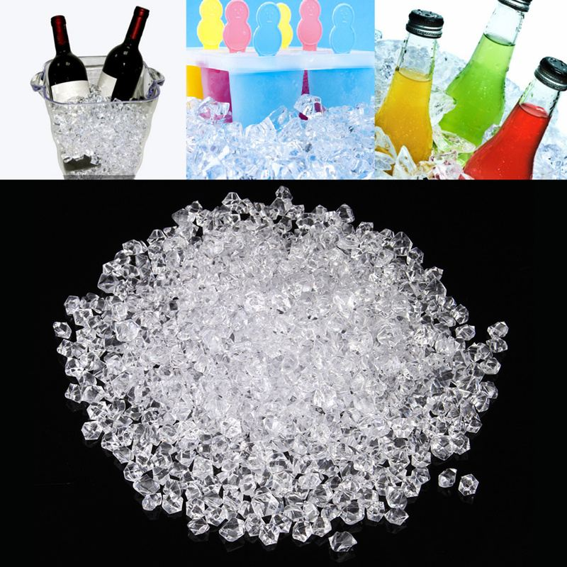 1000Pcs Reusable Fake Ice Cubes Artificial Acrylic Crystal Cubes Wedding Party Decor Whisky Drinks Display Photography Props