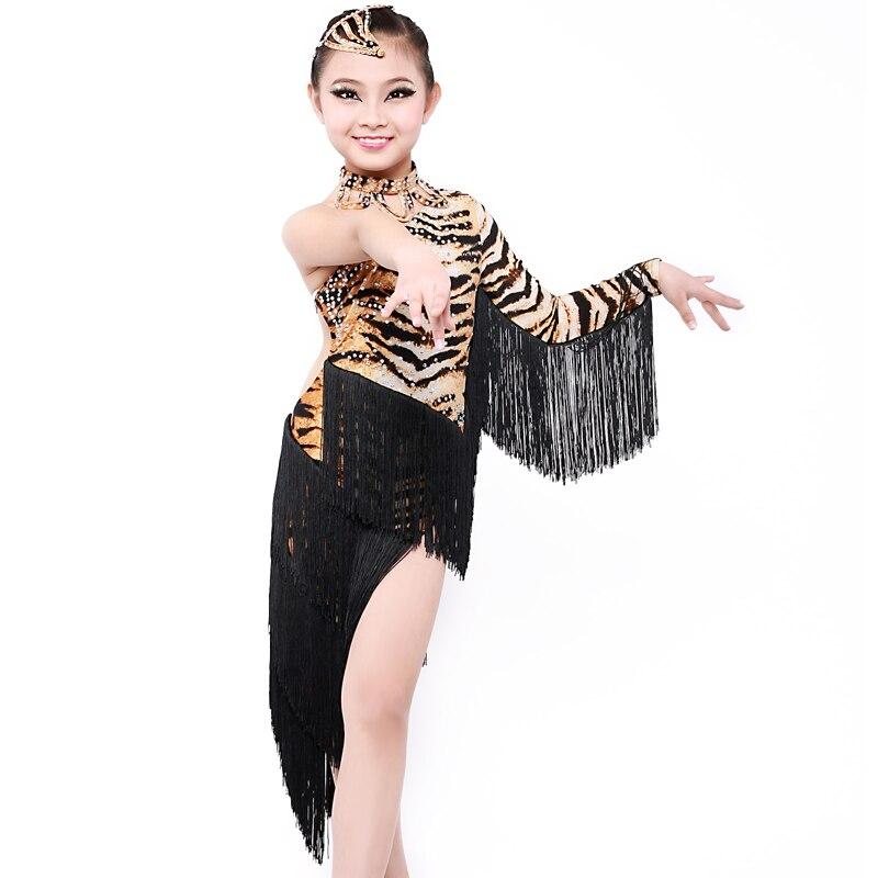 Livraison gratuite professionnel gland Aragraph tigre Nagle Latin danse Costume enfant compétition Latin jupe fy070