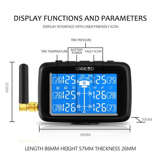 CAREUD U901 TPMS camion voiture   Système de contrôle de pression des pneus, batterie remplaçable avec 6 capteurs externes, affichage LCD