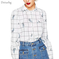 Deturbg Women's Ditsy Florals Embroidery Blouse Girls Casual Long Sleeve Plaid Pattern White Shirts Top Blusas 2017 Autumn Br409