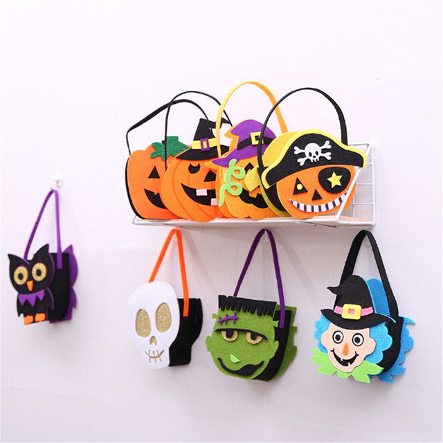 a519c456d3c New Selling Kids Halloween Props Tote Candy Bag Non-woven Felt Fabric  Pumpkin Witch Skull Decorative Bag