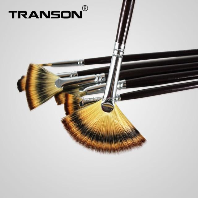 Transon 6PCS black handle colorful nylon hair artist brush set, fan head painting brush set, perfect gift.watercolor,acrylic