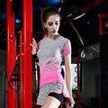 Verão Listrado Camisas de Compressão De Fitness Roupas T-shirt de Secagem Rápida de Manga Curta T-shirt das Mulheres T Topos