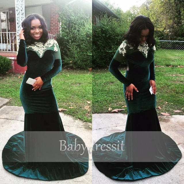 Long Velvet Prom Dresses Black Girl Sheer Lace Top Long Sleeve Backless  Court Train Mermaid Emerald 358428bdd8af