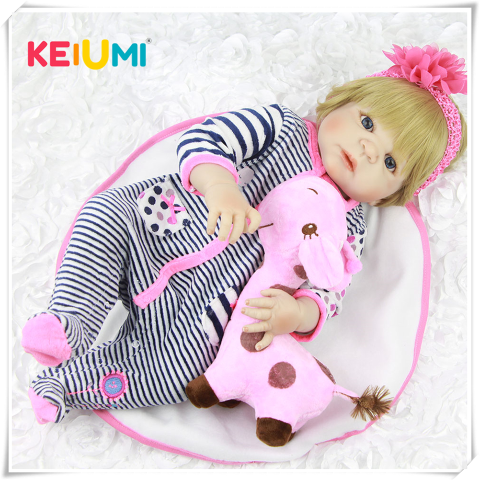 Full Body Silicone Vinyl Babies Reborn Dolls Realistic 23 inch New Born Baby wear Stripe Rompers