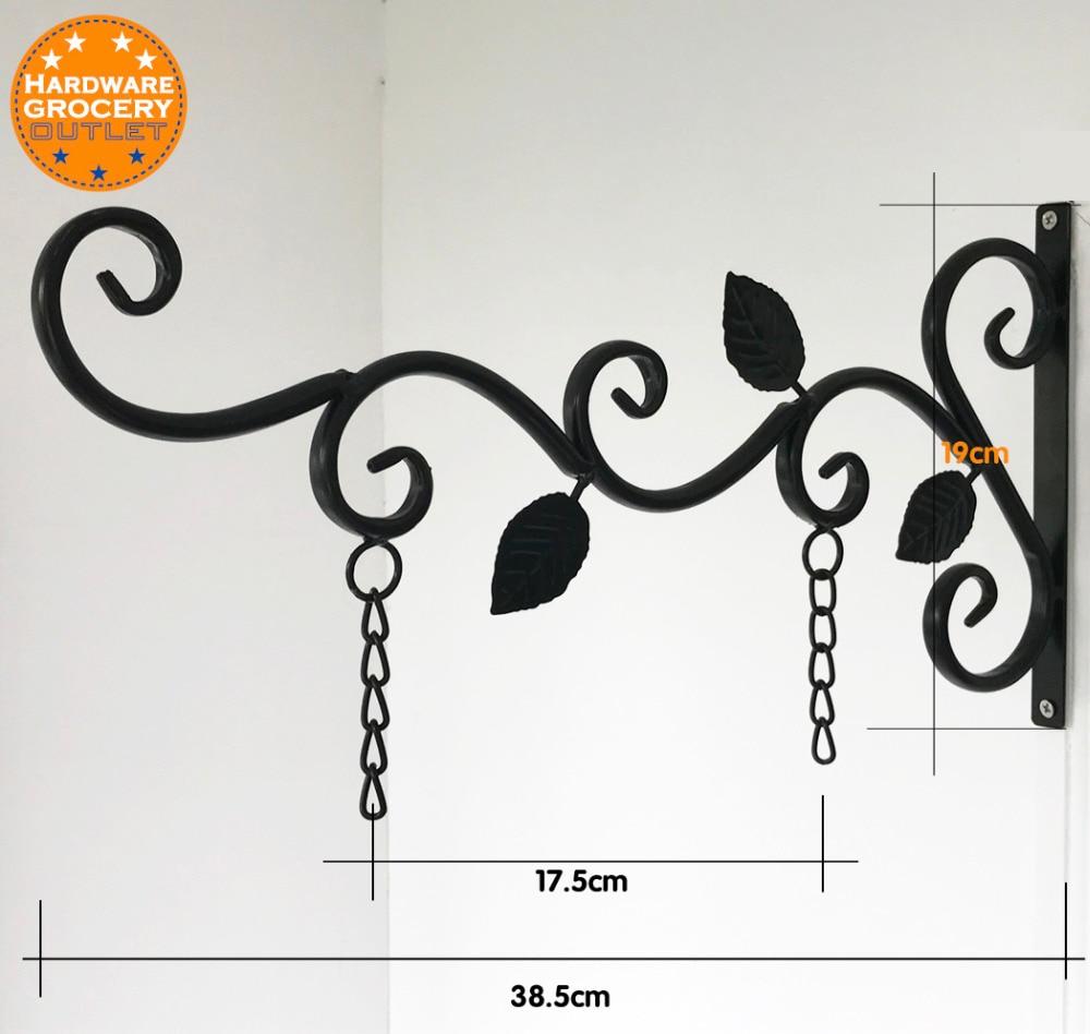 office home hanging sign bracket outdoor,black iron, Decorative black metal scroll brackets for door signs