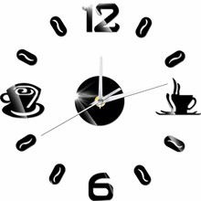 93aea1562 القهوة كوب أرقام أرقام 3D الاكريليك الجدار ملصق المنزل الحديثة جدار الفن  الساعات صائق الكوارتز غير موقوتة الصامت ووتش ديكور المن.
