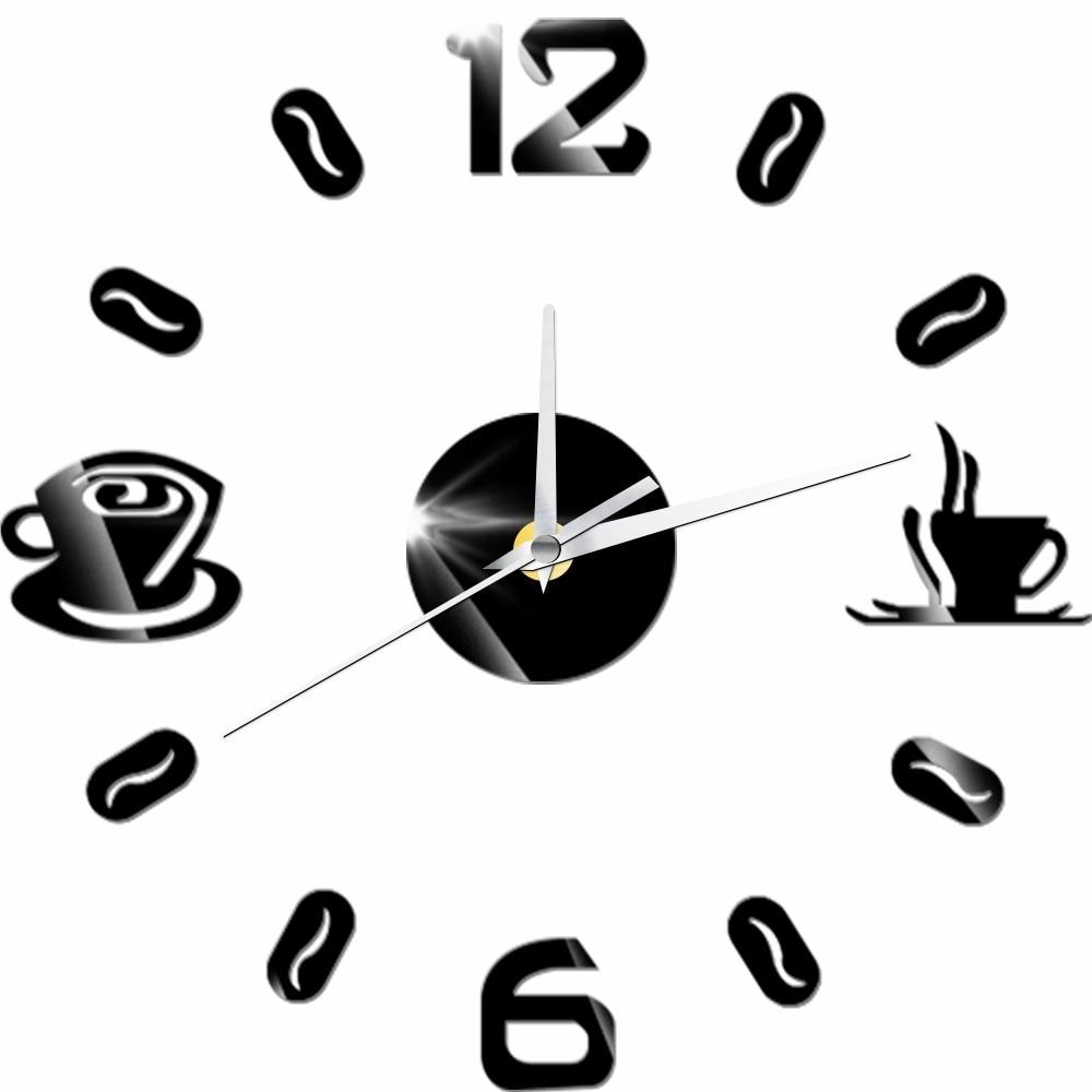 €4.53 36% de DESCUENTO|Reloj de pared acrílico taza de café con diseño  moderno reloj Adhesivo de pared reloj de cuarzo silencioso reloj cocina  sala de ...