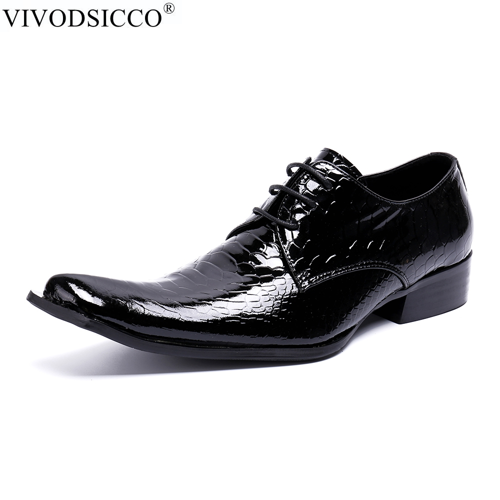 VIVODSICCO Men Oxfords Shoes Luxury Wedding Dress Italian Shoes Men Genuine Leather Pointed Toe Formal Shoes Mocassin Homme batzuzhi italian luxury men shoes pointed iron toe formal men dress shoes colorful python pattern leather party wedding shoes