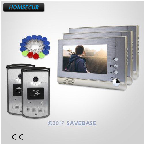 HOMSECUR 2 Outdoor Units + 3 Indoor Units 7inch Video Door Entry Call System with One Button Unlock for Home Security