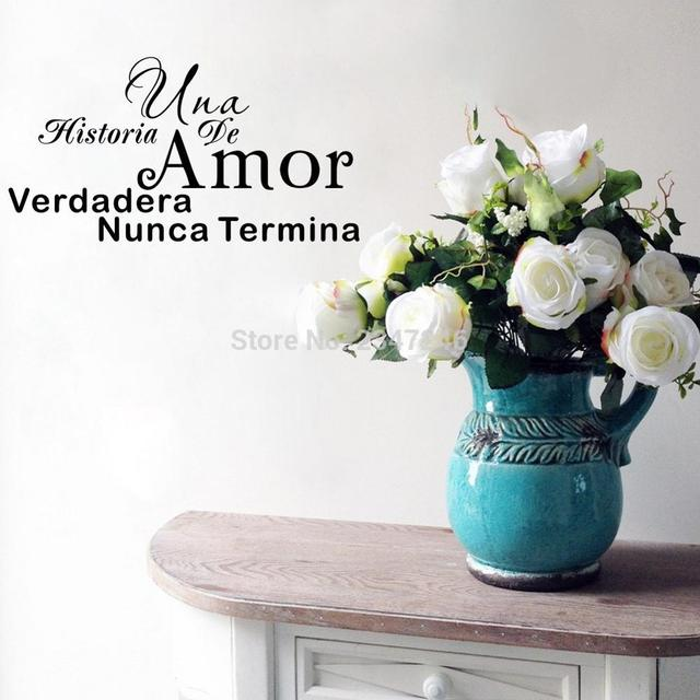 A Love Story Never Ends Spanish Quotes Wall Decal Art Lettering Vinyl Decor  Sticker For Home