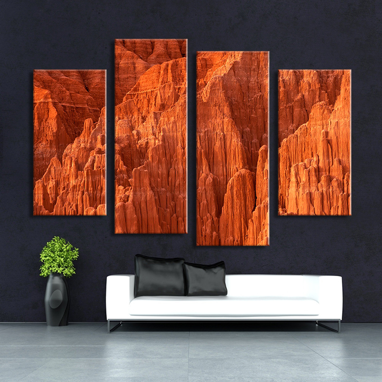 Hot Sell 4 Panel Red Rock Mount Wall Painting Print On Canvas For Home Decor Ideas