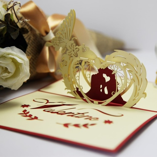 New Year 2017 Laser Cut Pop Up Cards Special Wedding Invitations Paper Art Decoupage Valentine