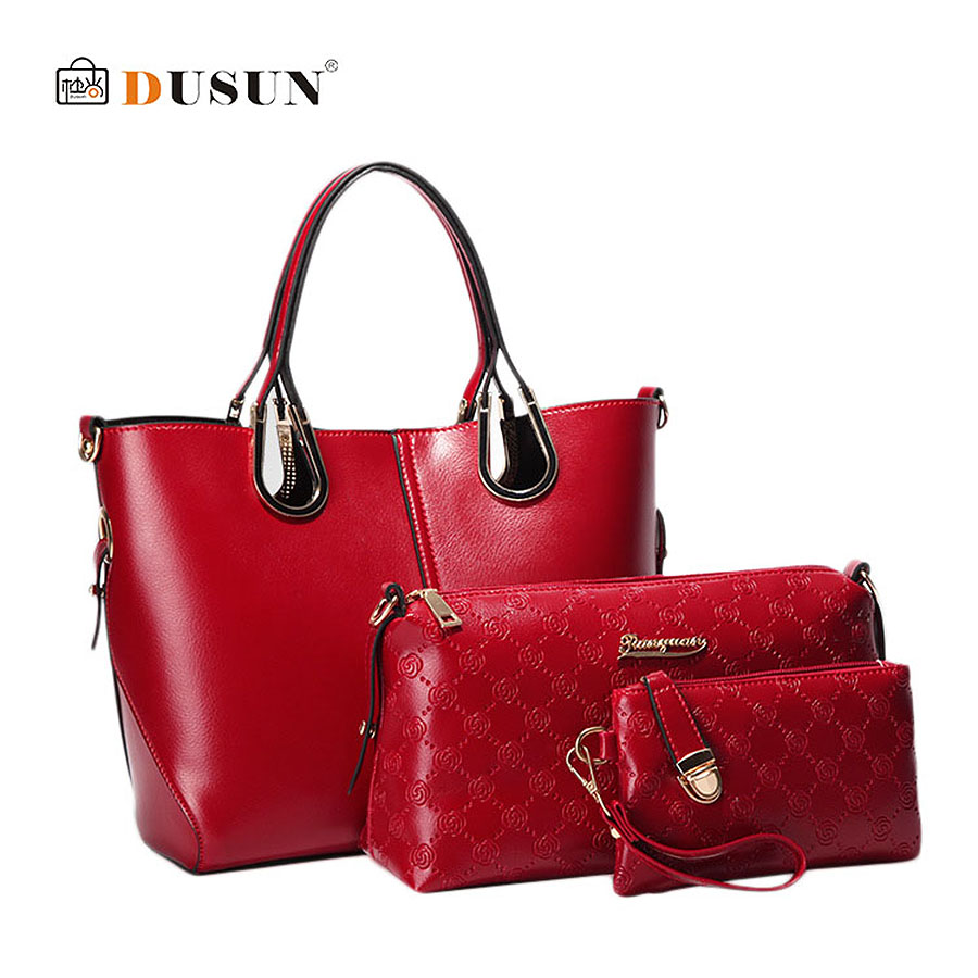 New DUSUN Brand Printed Leather Bag Vintage Handbag Women Tote Bags female crossbody Bags For Women Handbag 3 Sets SE10