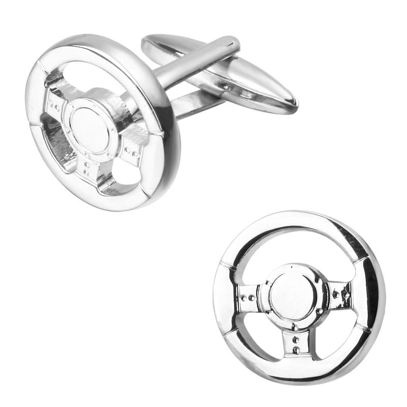 High quality mens fashion jewelry silver car steering wheel crystal cufflinks French shirt sleeve cuff links