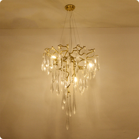 2017 Luminaire Lamparas Italian Style Copper Crystal Chandelier Dining Hotel Soft Outfit Engineering Branch Fork French