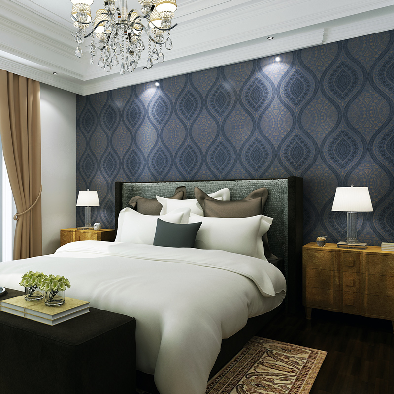 Free Shipping The Living Room Bedroom Bed TV Setting Wall Non Woven  Wallpaper Navy Blue 5.3m2 In Wallpapers From Home Improvement On  Aliexpress.com ...