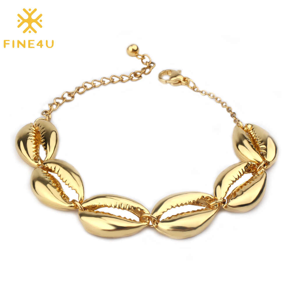 FINE4U B166 Bohemia Sea Shell Charms Bracelet Gold Color Adjustable Bracelet 2019 Trendy Summer Beach Jewelry