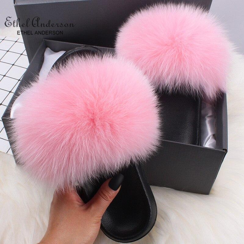 wholesale outlet meet quality Ethel Anderson Women Slippers Slides Summer Plus Real Fox Fur Flip ...