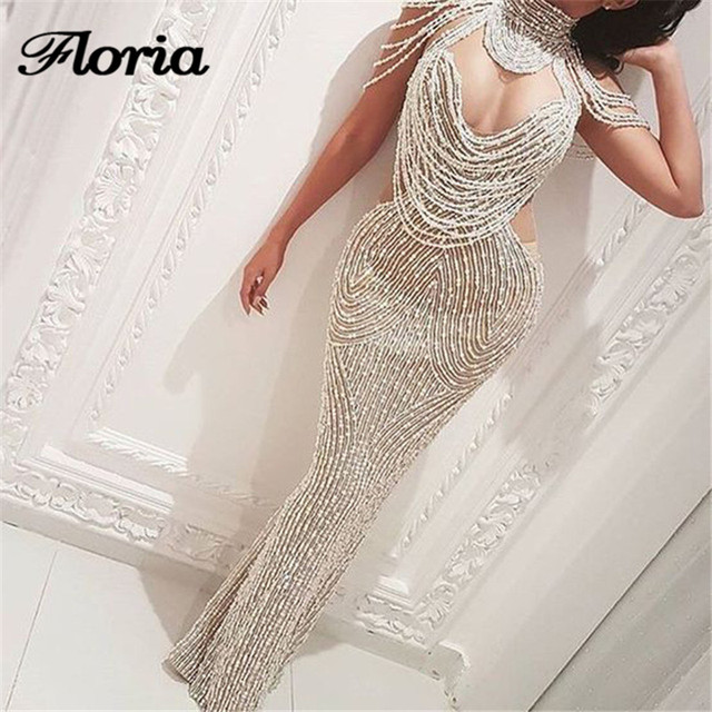32b488b5b90c6 Shiny White Mermaid Evening Dresses In Dubai Muslim Arabic Formal ...