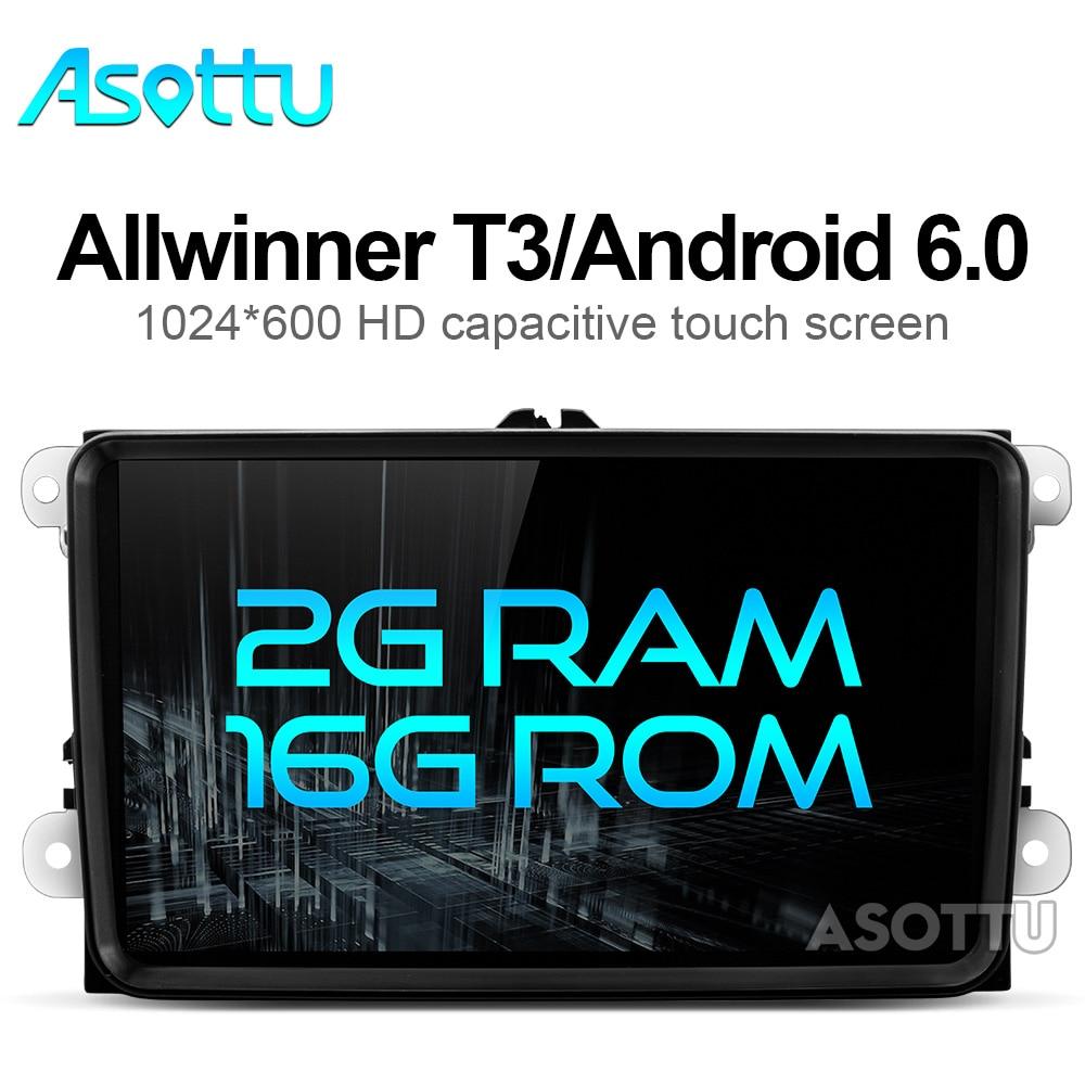 imágenes para 2G + 16G Android 6.0 reproductor de dvd del coche de navegación gps gps del coche de radio reproductor de vídeo dash 2 din para vw tiguan polo golf touran EOS