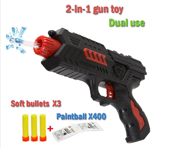 Nerf Paintball Gun Pistol & Soft Bullet Gun Plastic Toys CS Game Shooting  Water Crystal nerf