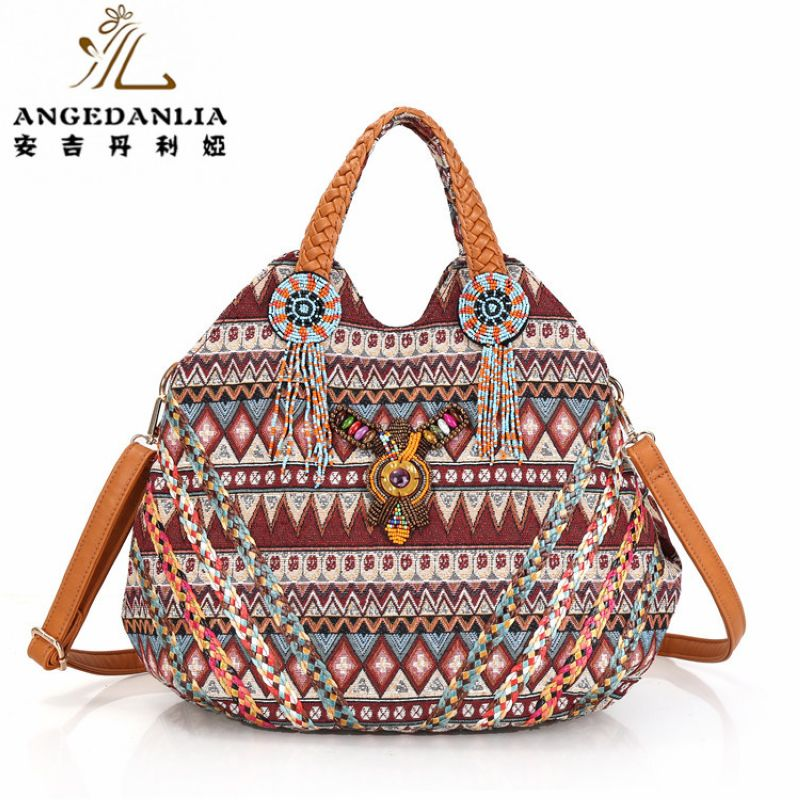 Trendy embroidery Women Striped PU Leather Handbag Bohemian Boho Gypsy Bags Cotton Fabric Bag national folk-custom ethnic bags free shipping vintage hmong tribal ethnic thai indian boho shoulder bag message bag pu leather handmade embroidery tapestry 1018