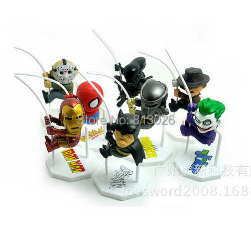 Джокер человек-паук Бэтмен, Железный человек 8 шт./компл. Фигурки ПВХ brinquedos Коллекция Фигурки игрушки для Рождественский подарок