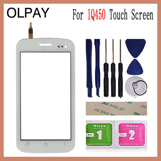 OLPAY 5.0 Touch Screen For Fly IQ450 IQ 450 Touch Screen Digitizer Panel Front Glass Lens Sensor Tools Adhesive+Wipes
