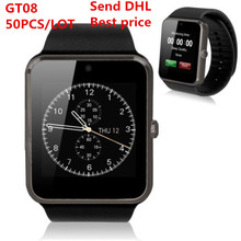 DHL 50pcs GT08 smart watch Clock Sync Notifier with Sim Bluetooth Smartwatch for Apple IOS xiaomi Samsung Android Phone PK DZ09