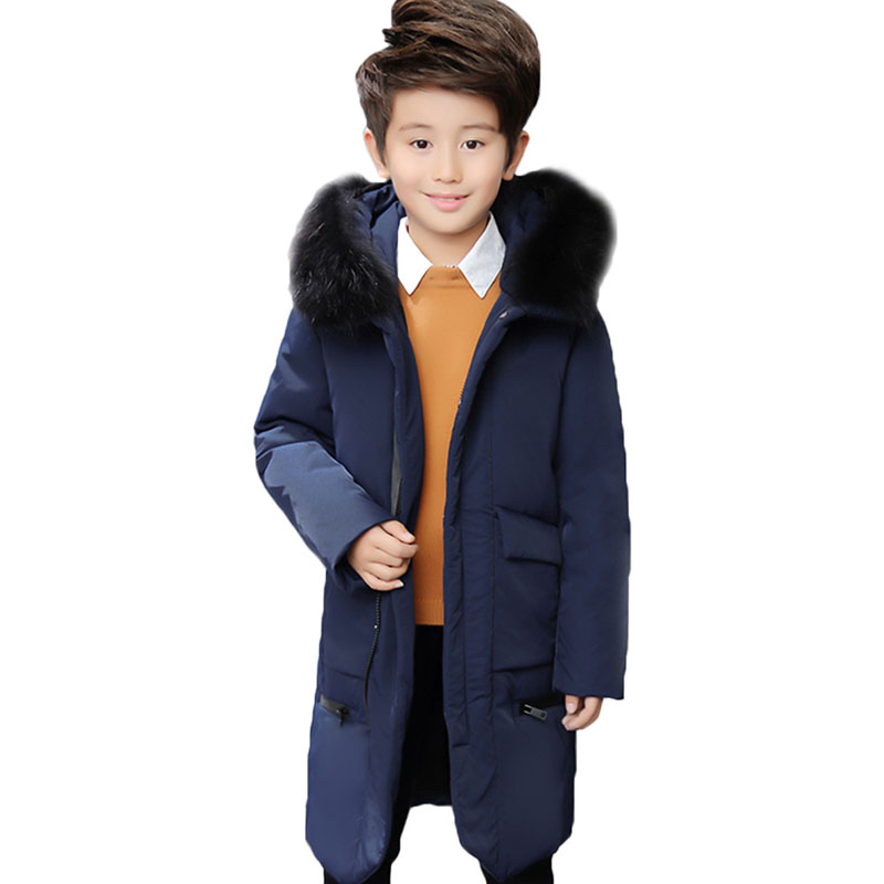 2018 Fashion New Baby Boys Winter Hooded Fur Collar Coat Children Boys 80% White Duck Down Jacket Kids Warm Outerwear Parks E247 winter children 80% white duck down jacket boys girls warm real fur collar hooded snow coat parka kids thick outerwear coat e249