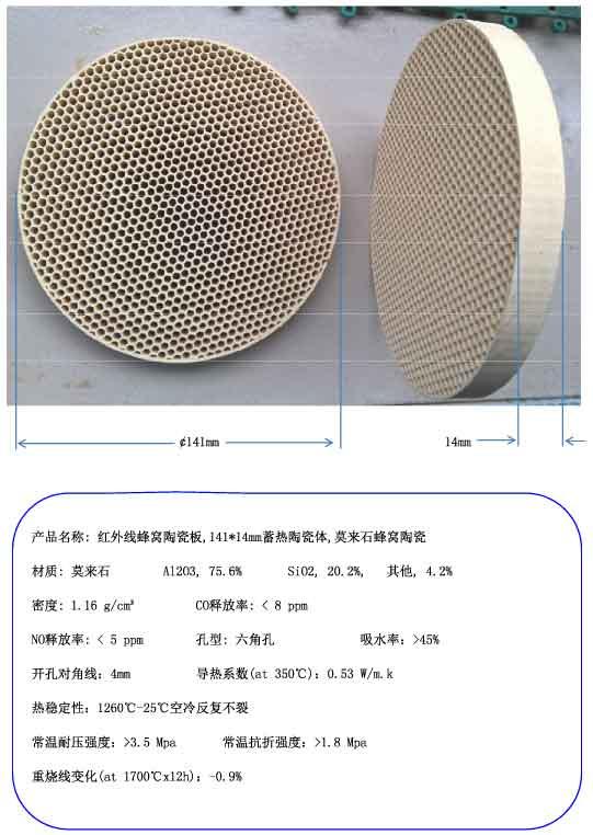 The infrared ceramic plate honeycomb regenerative ceramic body 141*14mm, mullite honeycomb ceramics regenerative nephrology