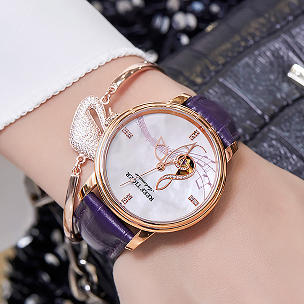 Reef Tiger RT Women Fashion Watches 2018 New Rose Gold Luxury Automatic Watches Leather Band relogio