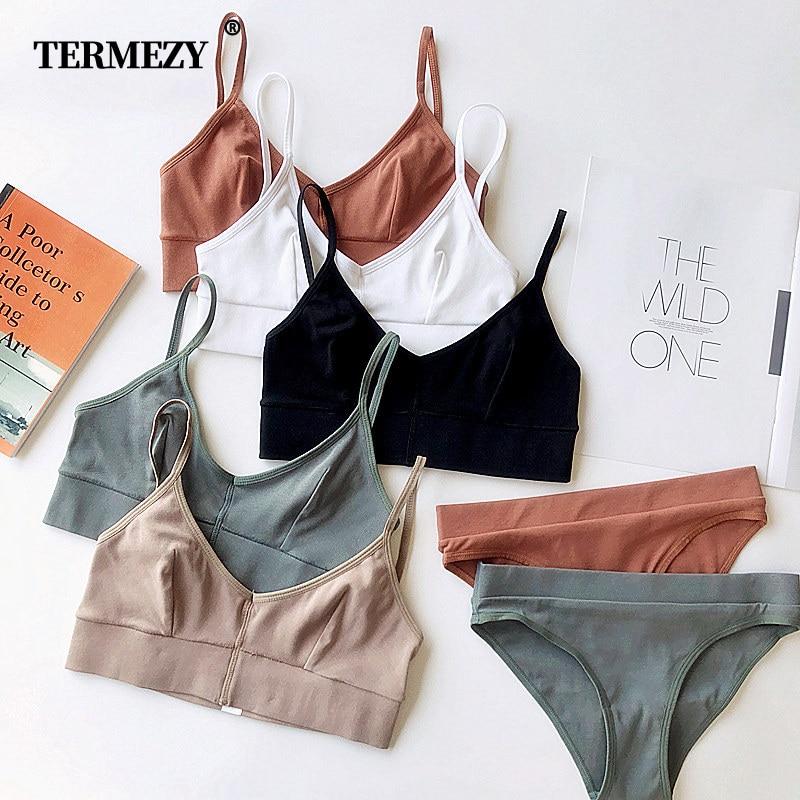 TERMEZY 2019 New Women Fashion Cotton Lingerie Wireless Bras For Women Push Up Bra Set Comfortable Sexy Underwear Free Shipping