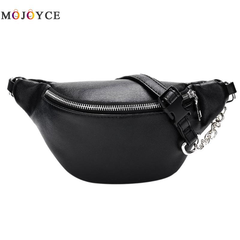 Zipper PU Leather Fanny Pack Women Shoulder Chest Bag Lady Belly Belt Bag Multifunctional Waterproof Waist Pack Black White