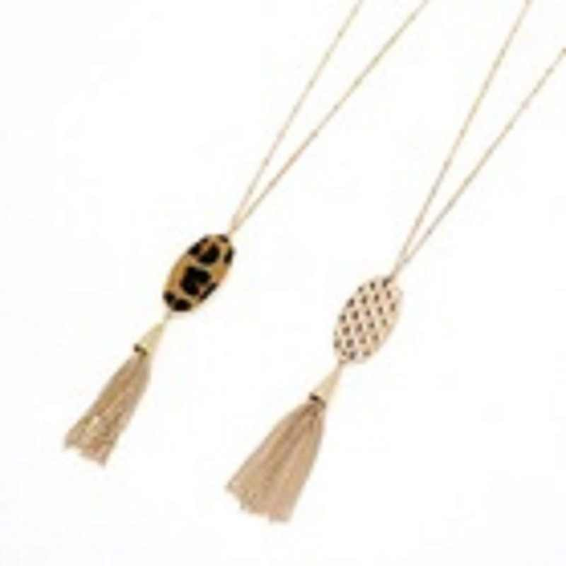 New Fashion Geometric Big Oval Leopard Print Straw Weave Pendant Necklace For Women Gold Long Chain Tassel Statement Necklace