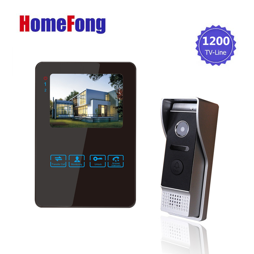 Homefong 4 Inch Monitor LCD Color Video Record Door Phone DoorBell Intercom System Night Vision 1200TVL High Resolution homefong villa wired night visual color video door phone doorbell intercom system 4 inch tft lcd monitor 800tvl camera handfree