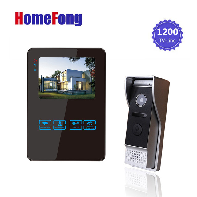Homefong 4 Inch Monitor LCD Color Video Record Door Phone DoorBell Intercom System Night Vision 1200TVL High Resolution