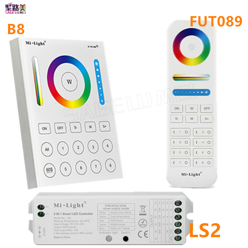 2.4G MiLight wireless FUT089 remote 8 Zone RF dimmer B8 Touch Panel Wall-mounted LS2 5 in 1 led controller for RGB+CCT led strip ac110v 240v dx62 wall mount 2 4g rf wireless led sync cct color temperature controller dmx512 signal ouput for dual white strip