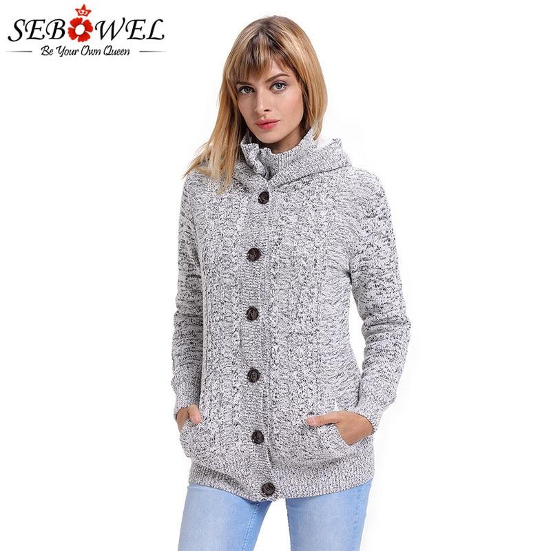 SEBOWEL Autumn Winter Long Sleeve Hooded Cardigans Sweater Women Open Stitch Knitted Thicken Warm Jackets Coats