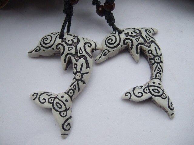 12pcs White Coqui Taino Symbol Dolphin Pendant Charm Necklace In