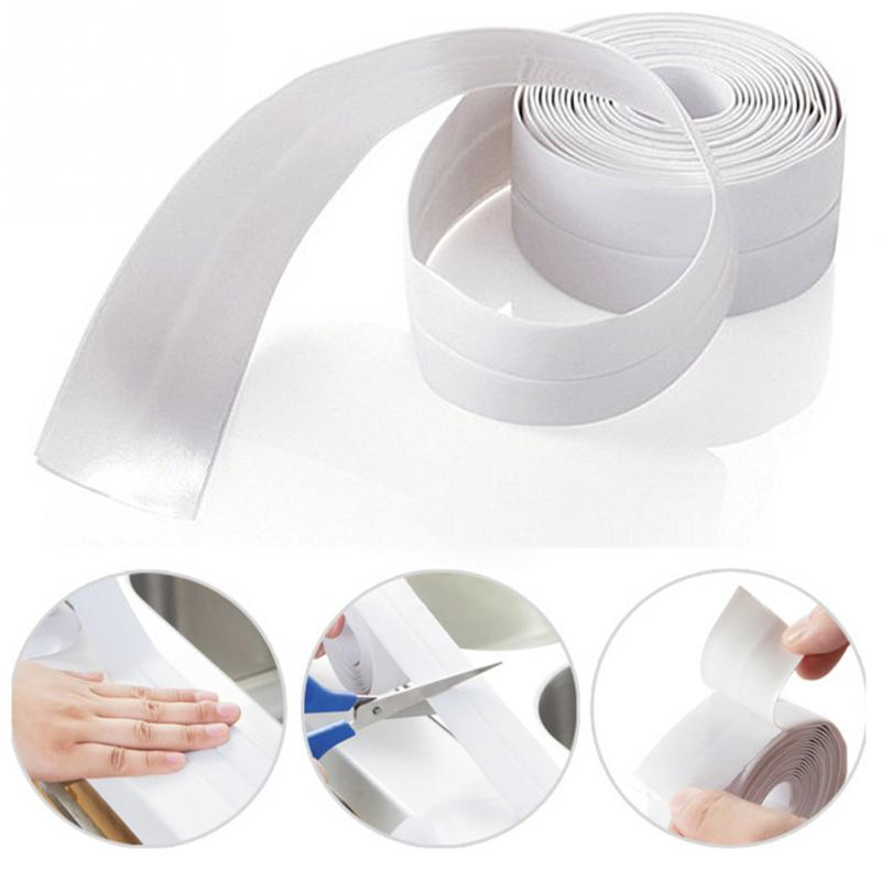 1 ROLL PVC Material Kitchen Bathroom Wall Sealing Tape Waterproof Mold Proof Adhesive Tape 1 roll pvc material kitchen bathroom wall sealing tape waterproof mold proof adhesive tape 3 2mx2 2cm
