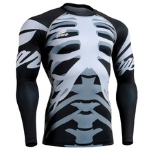 Fixgear Active Compression Men's Base Layer Tights Full Body Design Skeletons Bodybuilding T-shirts Mens Shapers