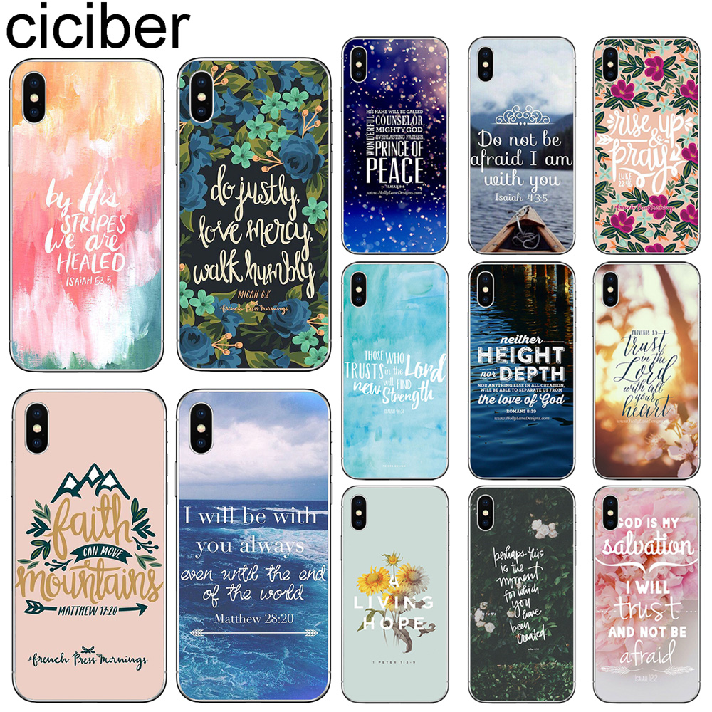 ciciber For Iphone 7 8 6 6S Plus 5S SE X XR XS XS Max Cover Soft Silicone for iphone 11 Pro Max Phone Case Bible Verse Christian image