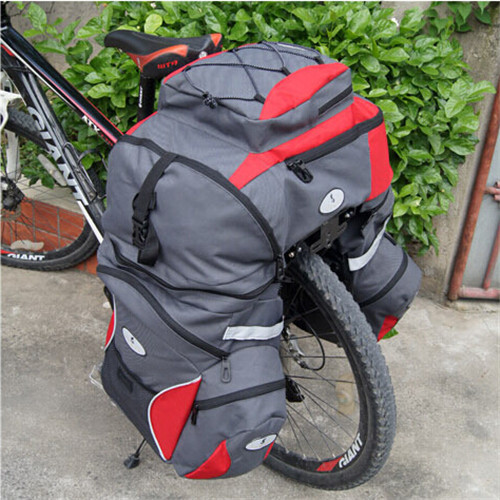 Mountain Bike Triple Bag Bicycle <font><b>Seat</b></font> Rear Saddle Bag Waterproof <font><b>Rain</b></font> Cover Travel Luggage Bag MTB Frame Backpack Bike Rack Bag