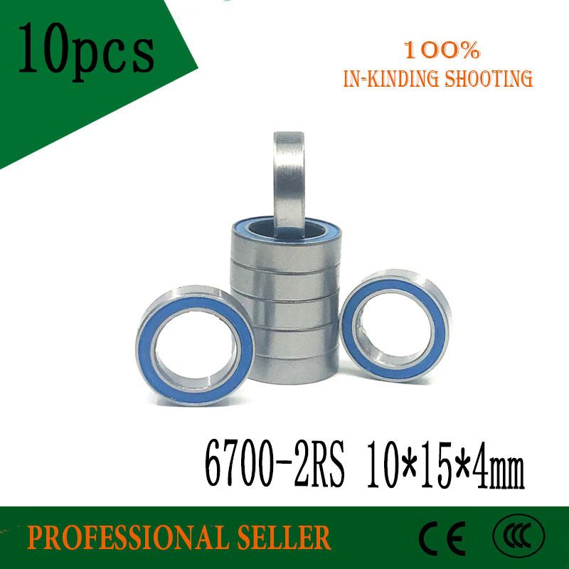 10pcs/lot 6700-2RS 6700 6700RS 6700-2RZ Blue Rubber Chrome Steel Bearing GCR15 Deep Groove Ball Bearing 10x15x4mm