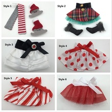 DHL/EMS 50pcs The Elf on the Shelf Winter Set & Boots, Tartan Skirt & Boots,Satin Tiered Skirt