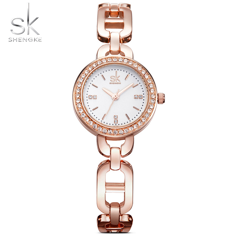 SK Fashion Women Watches Quartz Watch Waterproof Bracelet Watch for Women Rhinestone Dress Wrist Watch