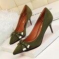 Новые Моды для Женщин, Насосы Туфли На Высоких Каблуках Мелкой Сладкий Маленький Бантом Обувь Одного Отметил Замша Швейные Обувь Одного G2715-2